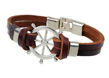 New Women Men Multilayer Leather Handmade Cuff Wristband Anchor Bangle Bracelet
