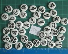 39x NAUTICAL Theme Wooden Buttons/Embellishment - Crafts, Cards, Knitting