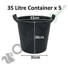 5 x 35 Litre Plant Tree Pot With Handles Heavy Duty 35L Lt Big Large Plastic