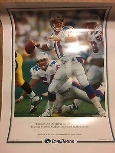 "Retro! DREW BLEDSOE : 1990'S NE Patriots 25"" x 34"" Bank Boston Poster Rare"