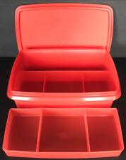 Tupperware Stow N Go Storage Container Box Organize Tuppercraft Red / Orange New