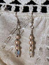 Drop Earrings Vintage Pink Acrylic Cats Eye Bead Swarovski Crystal Butterfly