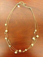 Lia Sophia Butternut Glass Crystal Bead Faux Pearl Multi Strand Necklace Retired