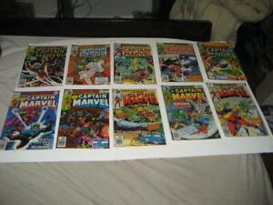 Lot of 10 Vintage Marvel Comics Captain Marvel Comic Books