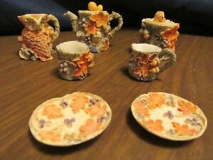 Vintage  Doll Size Mini Resin Tea Set FALL LEAVES / OWL pieces,,,, 9 pieces,,,,