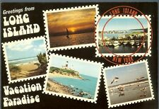 Greetings from Long Island NY ~ Vacation Paradise ~ multi-view postcard 1980s
