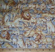 Lions Safari Wildlife Makower UK Jungle Animals 100% Cotton Fabric by Yard