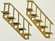 2 Vintage Wooden Staircases with Hearts Knick Knack Shelves Wall Hanging Shelf