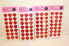 Lot 4 Packs Hallmark Small Heart Stickers Shiny Foil New Sealed 300+