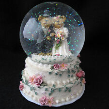 Boyds Bearstone Bears Musical Wedding Snow Globe Love is a Many Splendored Thing