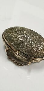 antique small egg shaped ornate brass coin purse sewing case