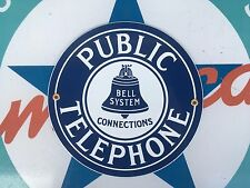 top quality PUBLIC TELEPHONE bell SYSTEM porcelain coated 18 GAUGE steel SIGN