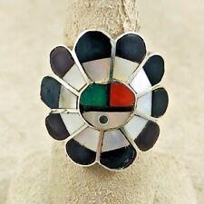 """Zuni Sun Sterling Large Ring-1"""" Diameter-Size 6 1/2"""