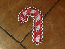 Embroidered Ornaments - Christmas - Candy Cane - Red