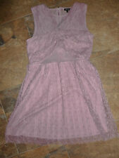 River Island Dress Size 14 BNWT Cut Out Mesh Panel Vintage Pink Pleated Lace