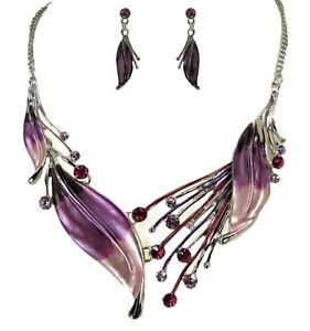 Purple Large Leaf Statement Necklace Earrings Set with Crystals and Enamel - NEW