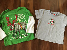 2 boys CHRISTMAS SHIRTS reindeer HOLLY DAYS penguin S/S L/S gray green SIZE 3T