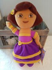 """Dora La Exploradora Muñeca Suave 13"""" 2007 Nick Jr-RARE-PÚRPURA VESTIDO. agitando Felpa."""