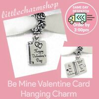 New Authentic PANDORA Be Mine Valentine Card Hanging Charm  - 791246 RETIRED