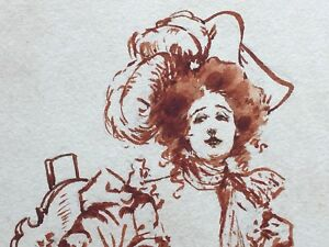 Dated 1898 MAY L FARINI Pencil Pen Ink Watercolor Sketch Beautiful Woman SIGNED