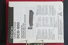 DENON dcd-600 LETTORE CD ORIGINALE istruzioni d'USO / MANUALE D'USO TOP Zust