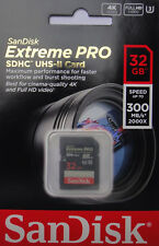 SanDisk 32GB Extreme PRO SD SDHC 300MB/s UHS-II Speed Class 3 U3 Memory Card 4K