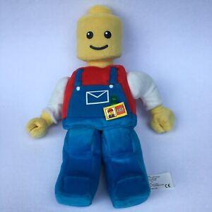 "LEGO MAN MINIFIGURE YELLOW OVERALLS STUFFED PLUSH TOY DOLL 12"" 30cm"