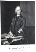 FOUNDING FATHER PATRIOT SAMUEL ADAMS ~ 1856 COPLEY Art Print Engraving RARE!