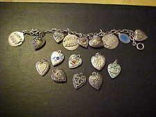 Vtg 1940's sterling silver enamel Flower puffy heart charm bracelet & 8 more