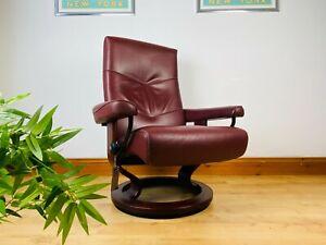 Vintage Ekornes Stressless Chair Leather Recliner Retro Danish MCM