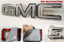 07-17  GMC Sierra Yukon Silver Carbon Fiber Front Grill Emblem Overlay Kit decal