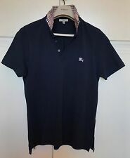 Polo uomo BURBERRY LONDON blu colletto check tg M maglia manica corta piquet