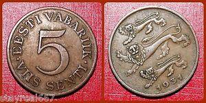 Estonia 5 Senti, 1931, Estonia Cent EESTI 5 SENTI Coin KM# 11