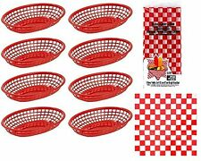8 Hotdog Hamburger Deli Picnic Baskets + 15 Red Basket Liners