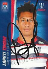 ✺Signed✺ 2017 MELBOURNE REBELS Rugby Union Card LOPETI TIMANI