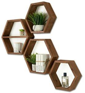 Hexagon Shelves Set of 4 - Rustic Brown Wood Honeycomb Shelf - Floating Shelves