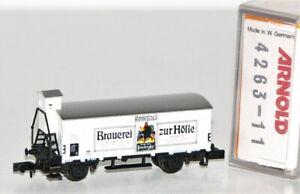 """Arnold N 4263-11 Gedeckter Güterwagen Brmsh DB """"Brauerei zur Hölle"""" OVP FF145"""