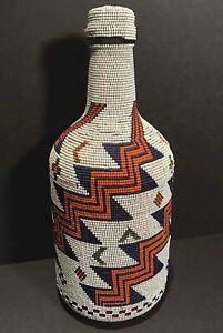 LARGE Early Native AMERICA Indian BEADED Basketry BOTTLE Basket
