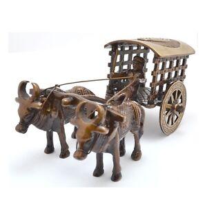 Bullock Carriage / Bull Cart Ornament Brass Statue Figurine Home Decor Cute