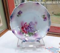 "ANTIQUE GERMAN LUSTER WARE RED & PURPLE GRAPES 8 1/4"" SERVING BOWL 1880-1920"