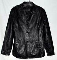 Wilsons Pelle Studio Black Butter Leather Womens Button Jacket Sz L