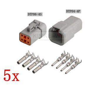 5x Deutsch DTP06-4S/DTP04-4P Sealed Waterproof Electrical Connector Plug Kits