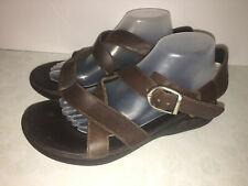 Chaco Mens Wayfarer? Leather Sandal Z  Buckle Ecotread Size 9 US Brown