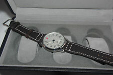 PARNIS MECHANICAL WATCH WHITE DIAL BLACK HOUR MARKINGS BROWN STRAP 44MM CASE