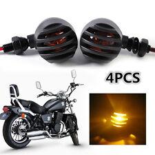 4pcs Amber Motorcycle Bullet Blinker Grille Turn Signal Light Indicator Custom