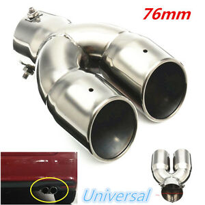 Universal Chrome 76mm Car Stainless Steel Double Exhaust Pipe Muffler Tail Tip