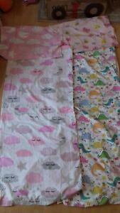 2 girls cot bed size duvet and pillowcase reversible sets dinosaur cloud moon