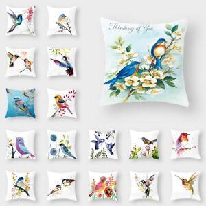 Flower Bird Tree Square Pillow Case Cushion Cover Waist Throw Cover Home Decor