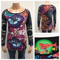 DESIGUAL Rainbow Long Sleeve Top Size L Floral Printed Multicolour Casual Top