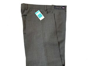 M&S Mens Savile Row Alfred Brown Grey Striped  Pure Wool Trousers W-34 L-29
